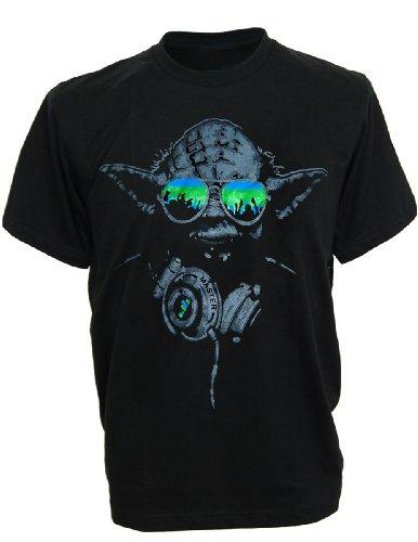 Sodatees Dj Yoda @ Turntables Club Men'S T-Shirt Headphones Star Wars Music Green Shades - X-Large