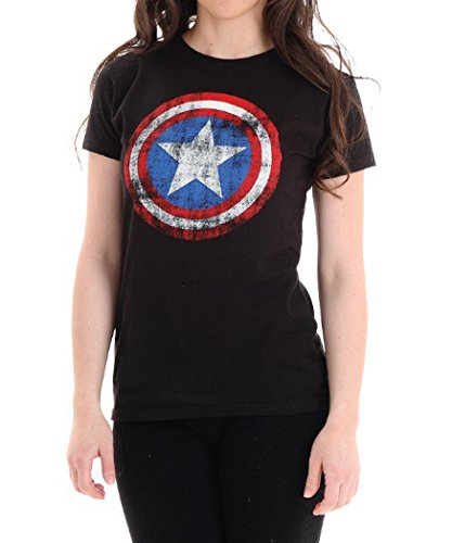 Womens Captain America Logo Black T-Shirt