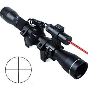 Riflescope 4X32 Optics Sniper Hunting Sight Rifle Scope + Red Dot Laser Sights + 20mm Rail Mounts