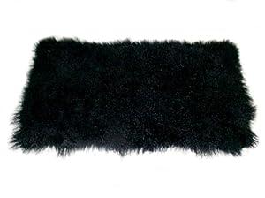 Small Black Mongolian Lamb Throw w/Cashmere Backing 20x40