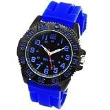 腕時計 メンズ アナログ 回転式ベゼル ミリタリー ビッグフェイス ラバーベルト メンズ腕時計 ブルー