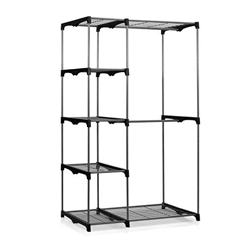 Furinno WS15005 Wayar Double Rod Freestanding Closet, Gray