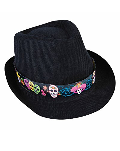 Adults Day Of The Dead Skeleton Skull Black Fedora Hat Costume Accessory