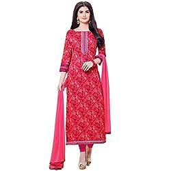 Shelina Women Red Cotton Printed Salwar Suit