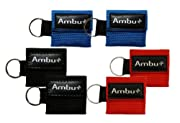 6 Pc Variety Ambu Res-Cue Key Mini CPR Mask Keychains (2-Rd, 2-Blu, 2-Blk)