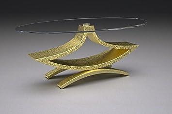 Marmor Couchtisch mit Glasplatte Modell - Rama - Cm 100 x 65 - Höhe: cm 41 - Finish: Gold