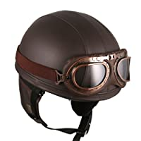 Leather Brown Motorcycle Goggles Vintage Garman Style Half Helmets Motorcycle Biker Cruiser Scooter Touring Helmet by HANMEI