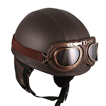 Leather Goggles German Vintage Style Half 1/2 Helmet Motorcycle Biker Cruiser Scooter Touring Helmet (Brown)