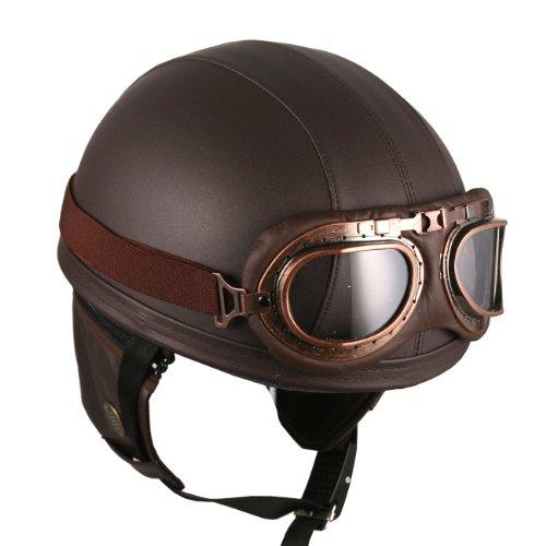 leather-brown-motorcycle-goggles-vintage-garman-style-half-helmets-motorcycle-biker-cruiser-scooter-