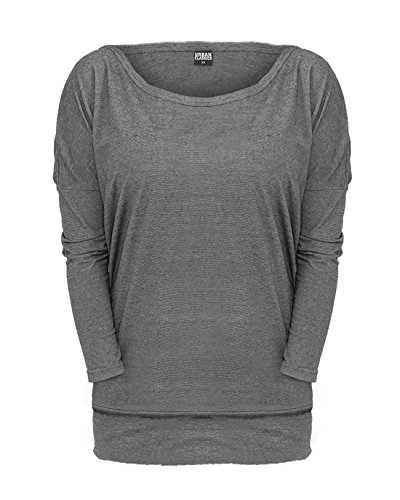 Urban Classics Ladies Pin Stripe 3/4 Sleeve Tee Manica lunga donna grigio S