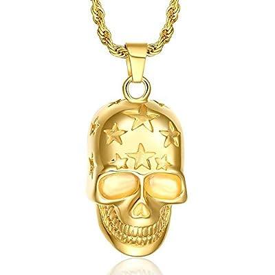 AnaZoz Jewelry Punk gold filled skull necklace pendant chunky skeleton men from AnaZoz