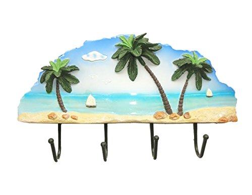 Best Decorative Wall Mount Palmtree 4 Key Hook Best Beach Stocking Stuffer Gift Ideas For Boys Girls Men Surfers & Women Metal & Resin Rack Small Towel Rack (Palmtree Theme Key Hook) front-65186