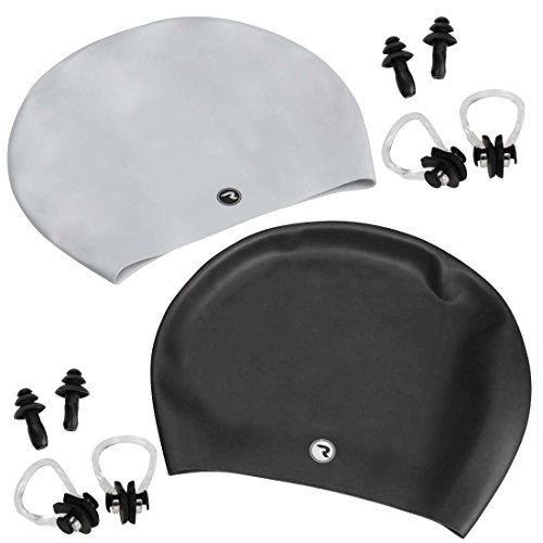 RoryTory Black and Silver Adult Long Hair Swim Cap With Nose Clip and Ear Plug (Swim Long Hair Nose Clip compare prices)