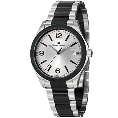Maurice Lacroix Miros Men's Silver Dial Black PVD Stainless Steel Watch MI1018-SS002-131 from watchmaker Maurice Lacroix