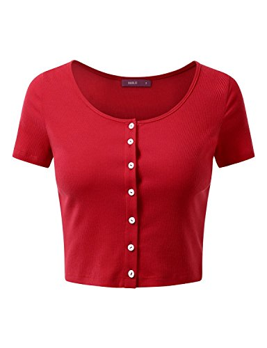Doublju Womens Short Sleeve Ribbed Knit Button Down Crop Top RED MEDIUM