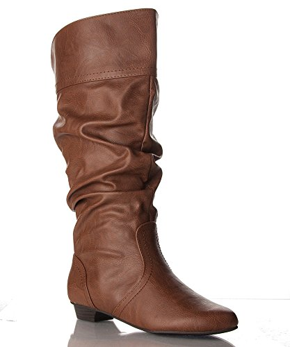 rof s basic slouchy knee high flat boot cognac pu