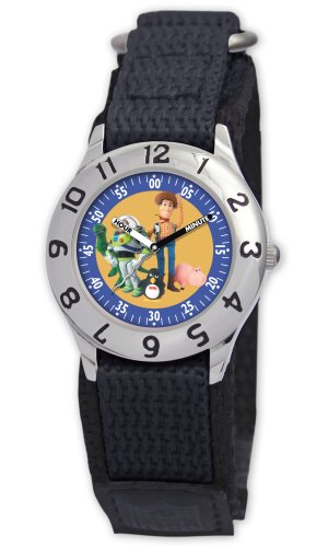 Disney Kids' D014S500 Toy Story Time Teacher Black Velcro Watch