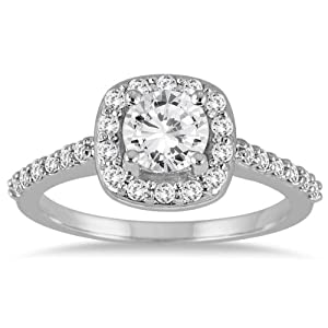 IGI Certified 1 1/10 Carat Diamond Halo Engagement Ring in 14K White Gold (J-K Color, I2-I3 Clarity)