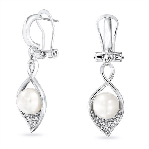 Bling Jewelry Calla Lily South Sea Shell Pearl Bridal Drop Earrings Omega Back