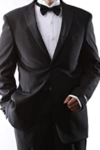 Single Breasted 2 Button Black Extra Fine Slim Fit Tuxedo