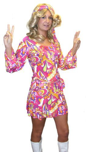 Flower Power-1960's-1970's-Fancy Dress PINK HIPPY CHICK Ladies Costume - From Sizes Teen to 26 (Ladies: