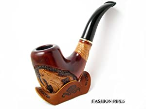 "Fashion Set – Decorated smoking pipe & Stand, Carved Pear Root Wood ""DRAGON"" + Leather Rack Holder! – BEST PRICE IN FPS!!!"