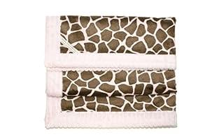 Giraffe Patterned Pink & Brown Minky Fabric Baby Blanket - Great Nursery, Security or Swaddle Blankie