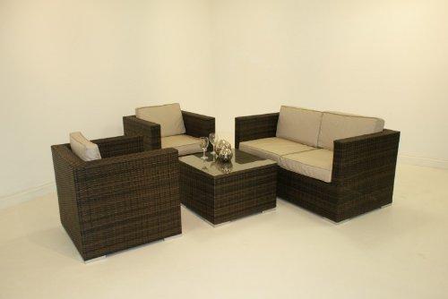 Rattan-Gartenmöbel-set, Chelsea, dunkel, 4-Sitzer-sofa, Schwarz