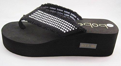 Bobee New Women Flip Flops Studs Thong Sandals Wedge Platform Shoes Slides Black 6