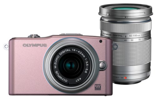 Olympus Pen E-PM1 Compact System Camera Double Zoom Kit - Silver-Rose (includes M.ZUIKO Digital 14 -42mm II R and M.ZUIKO Digital 40 -150mm Lenses)