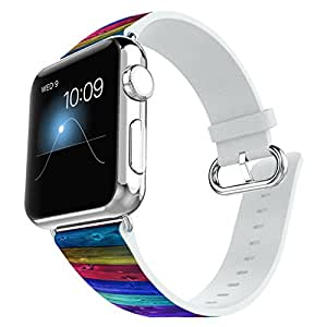Apple Watch Band 38MM 100% Leather + Stainless Steel Connector iWatch Bands for Apple Watch 38mm - Purple wood grain pattern