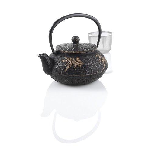 Teavana Japanese Goldfish Cast Iron Teapot, Black-Gold