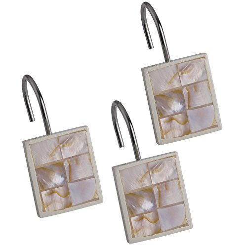 Creative Scents Shower Curtain Hooks - Set of 12 Shower Rings for Bathroom Shower Curtain Rod - 100% Rust Proof - Milano Collection (Mother of Pearl) (Hot Tub Robe Tree compare prices)