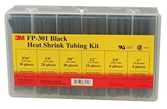 HEAT SHRINK TUBING,KIT,3M FP-301BLACK,102 PIECES KIT,WITH PLASTIC BOX,6 INCH PIECES