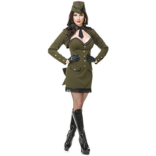 [GSG Army Girl Costume Adult Sexy 40s 50s Pin Up Halloween Fancy Dress] (40s Nurse Costume)