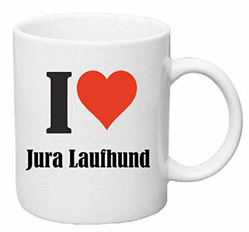 "Kaffeetasse ""I Love Jura Laufhund"" Keramik Höhe 9,5cm ? 8cm in Weiß"