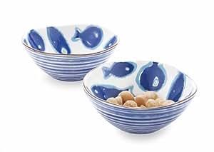 Mud pie fish dip bowl set kitchen dining for Fish bowl amazon