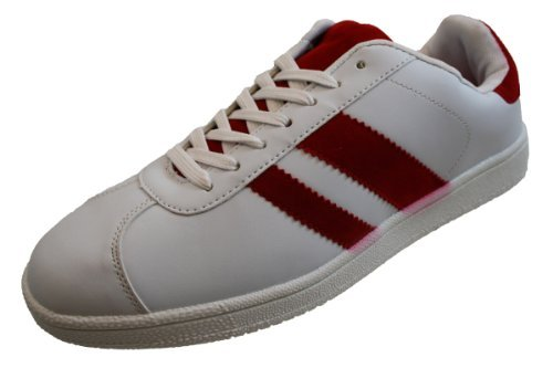 Mens Cheap White Red Faux Leather Suede Skate Trainers Shoes Gents