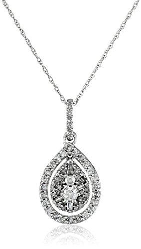 "10k White Gold Diamond Pendant Necklace (1/2 cttw, H-I color, I2-I3 clarity), 18"""