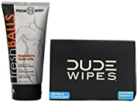 2 Item BUNDLE!!! Fresh Balls Lotion The Solution for Men - 5 OZ tube AND Dude Wipes - Dude Region Clean Up 30 ct. Wipes