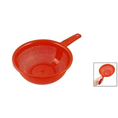 uxcell Platic Long Handle Rice Strainer Filter Red