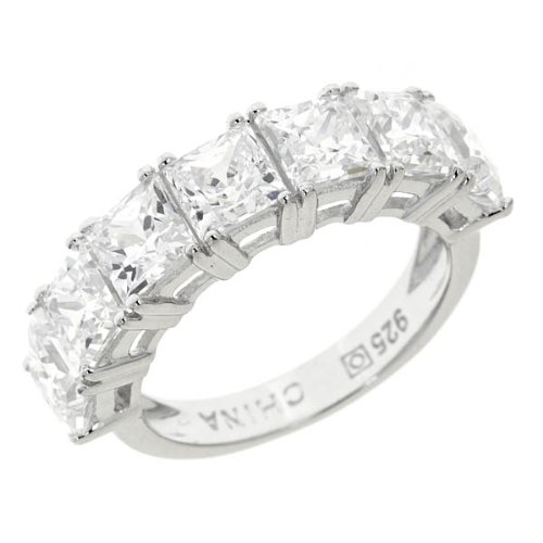 Verconia Collection Sterling Silver Princess 7-Stone Swarovski Cubic Zirconia Ring, (1 cttw), Size 7