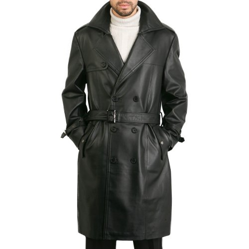 BGSD Men's Classic Leather Long Trench Coat - Black Large