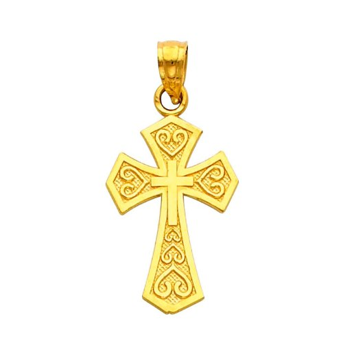 14K Yellow Gold Religious Cross Charm Pendant