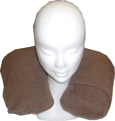 Inflatable Neck Pillow with a Mocha Fleece Cover