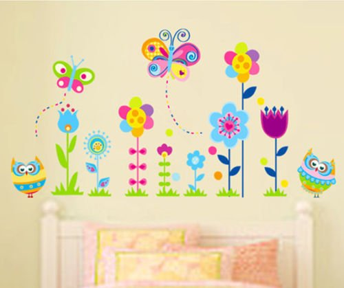 hallobo wandtattoo eulen schmetterlinge blumen wandaufkleber wandsticker kinderzimmer kinder baby. Black Bedroom Furniture Sets. Home Design Ideas
