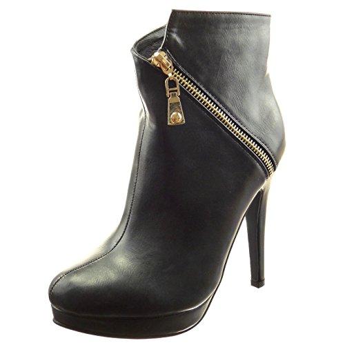 Sopily - Scarpe da Moda Stivaletti - Scarponcini zeppe alla caviglia donna zip Tacco a blocco tacco alto 12.5 CM - soletta sintetico - foderato di pelliccia - Nero WLD-7-G200-1 T 38