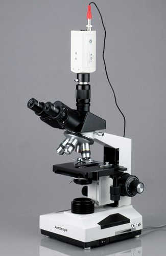 Amscope T490A-Ccd Compound Trinocular Microscope, Wf10X And Wf16X Eyepieces, 40X-1600X Magnification, Brightfield, Halogen Illumination, Abbe Condenser, Double-Layer Mechanical Stage, Sliding Head, High-Resolution Optics, Includes Ntsc Analog Tv Video Cam