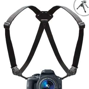 TrueSHOT DSLR Panasonic Camera Harness Strap System with Adjustable Brackets for Lumix DMC-G6 , DMC-LZ30 , DMC-GH3 , DMC-G5 , DMC-FZ200 , DMC-GF5 & More Panasonic Digital Cameras ** Includes Mini Tripod & Microfiber Lens Cleaning Cloth **