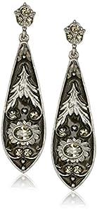 1928 Jewelry Silver-Tone Black Diamond Color Crystal and Enamel Long Drop Earrings